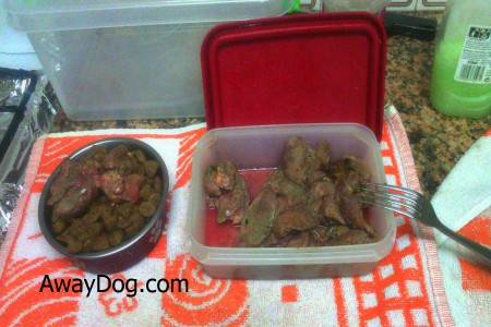 Cooked chiken liver cut to pieces